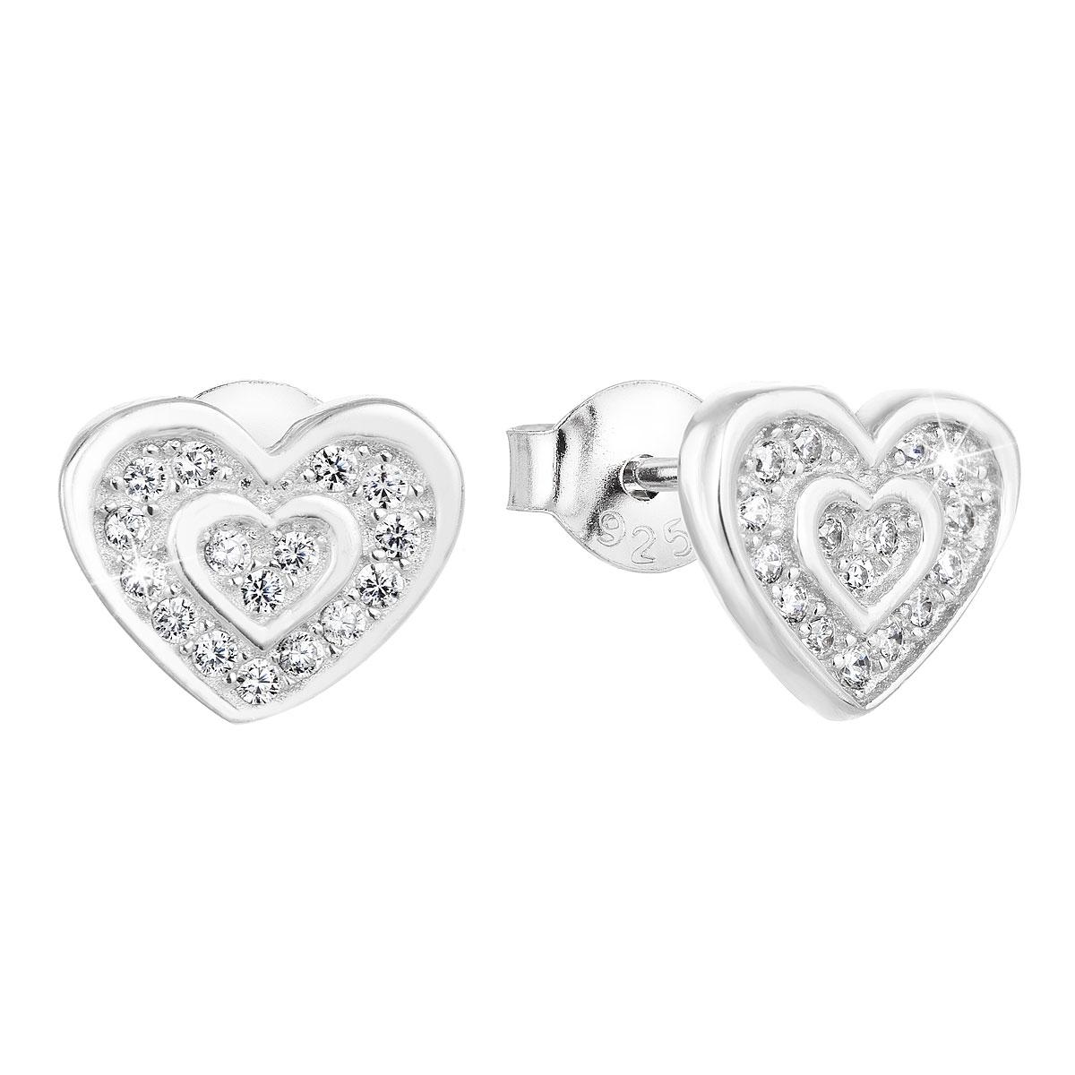 Strieborné náušnice perličky so zirkónom biele srdce 11025.1