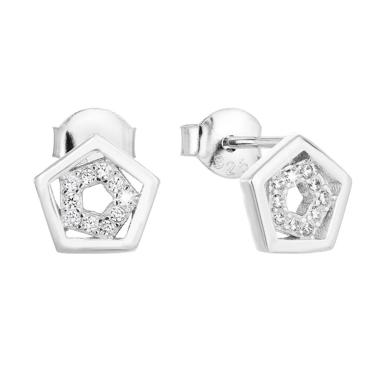 Strieborné náušnice perličky so zirkónom v bielej farbe 11026.1