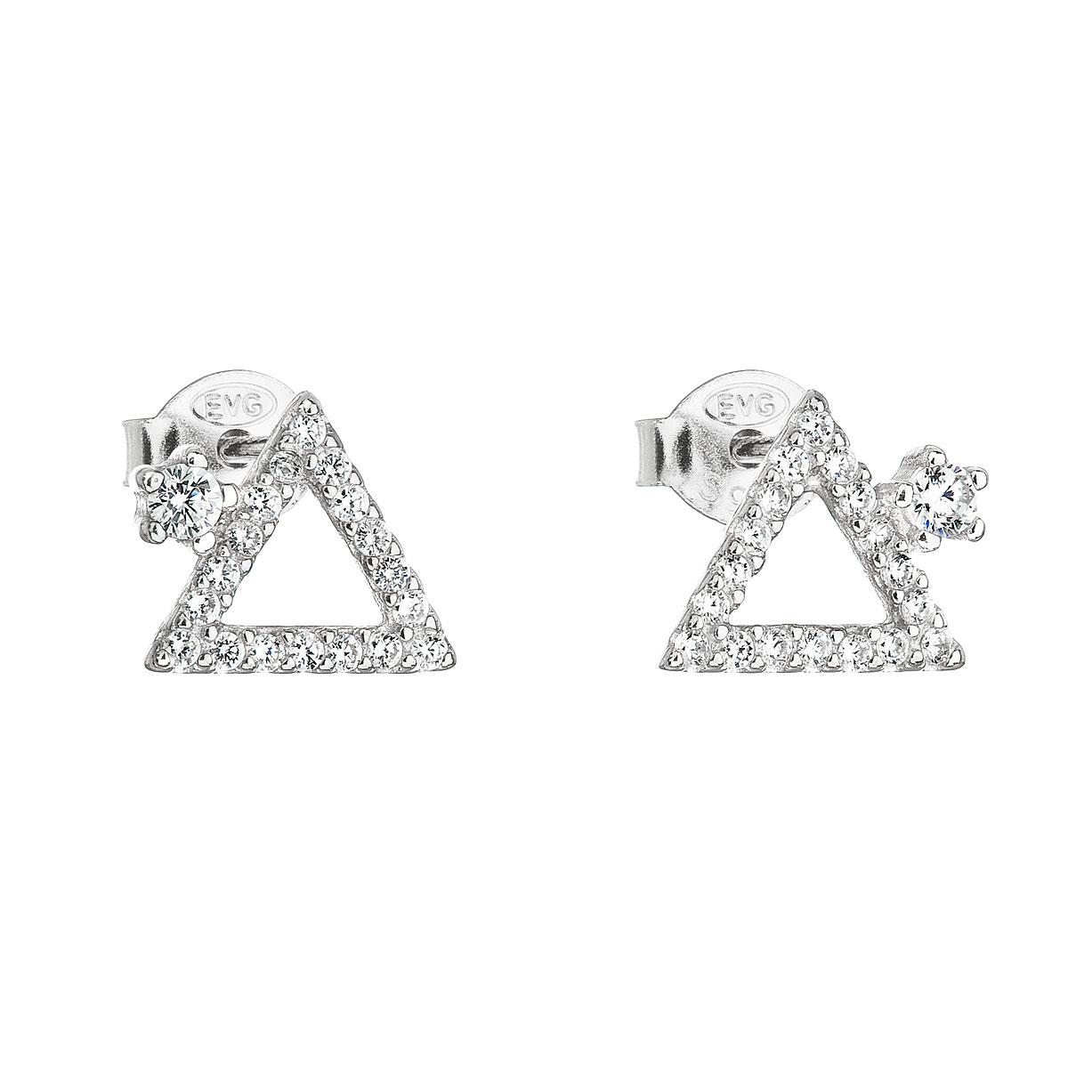 Strieborné náušnice kôstka so zirkónom biely trojuholník 11037.1