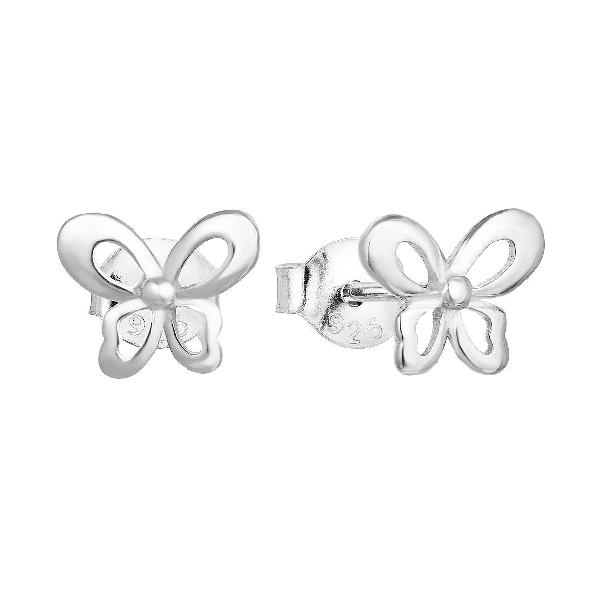 Strieborné náušnice kôstky so zirkónom biely motýľ 11060.1