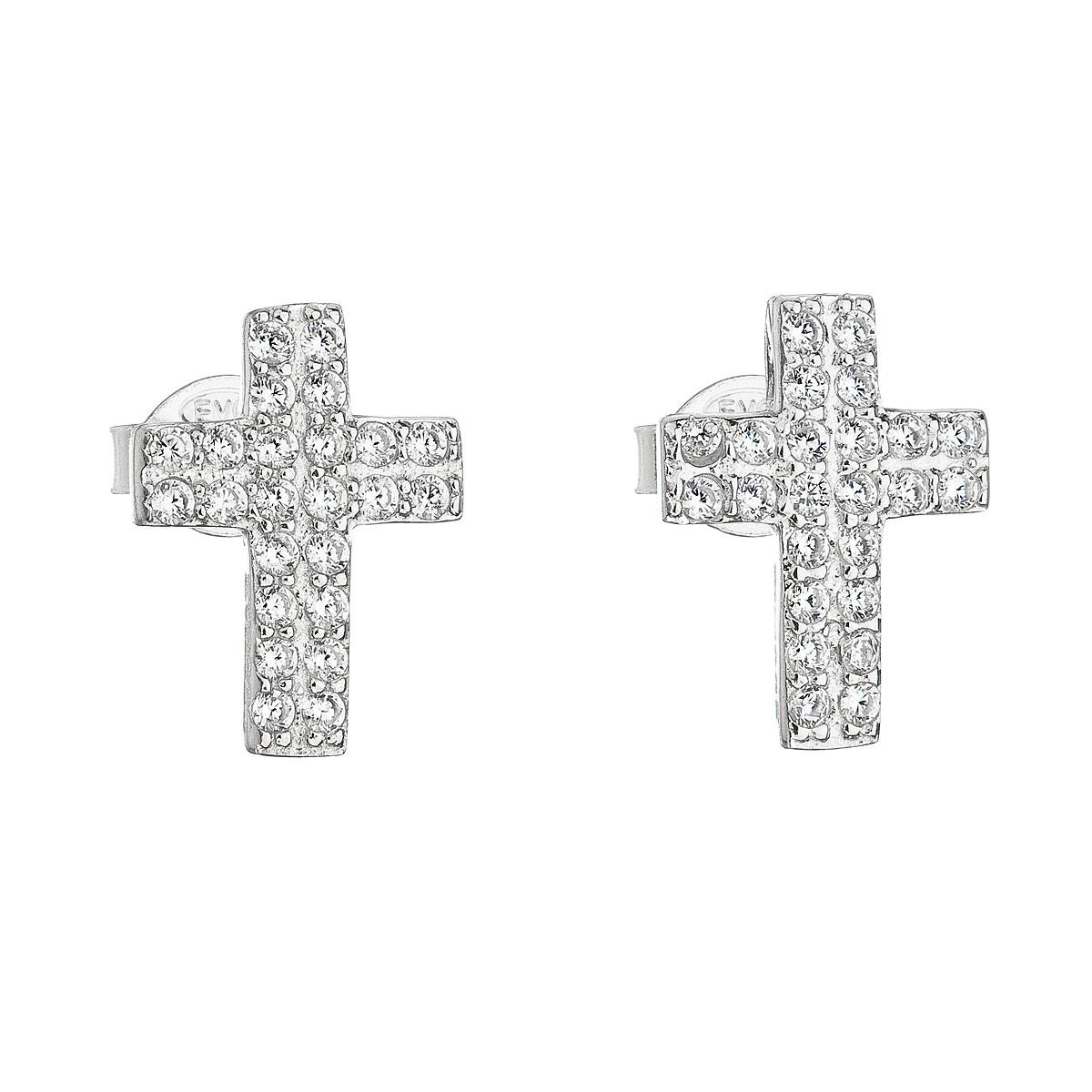 Strieborné náušnice kôstka so zirkónom biely krížik 11068.1