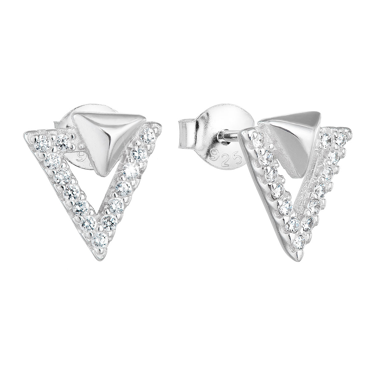 Strieborné náušnice perličky so zirkónom biely trojuholník 11081.1