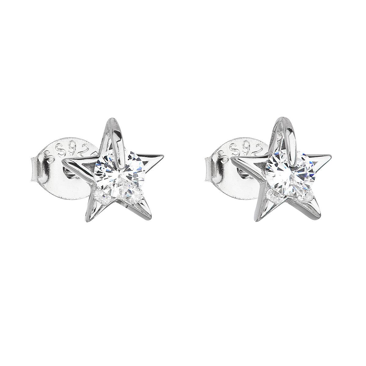 Stříbrné náušnice kôstky so zirkónom biela hviezdička 11105.1