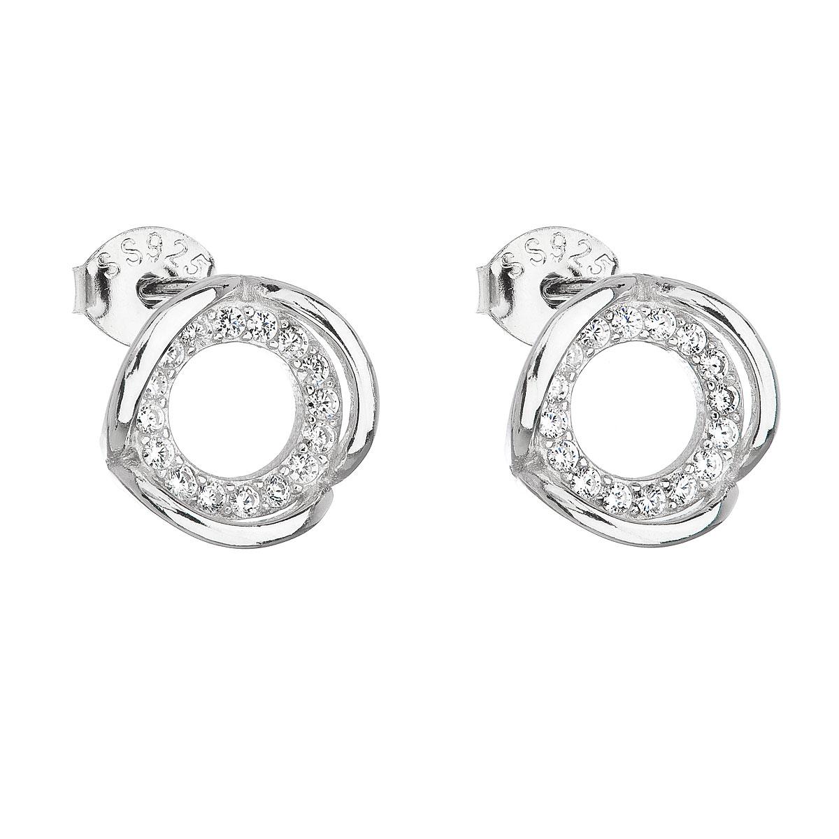 Strieborné náušnice perličky so zirkónom biely kruh 11116.1