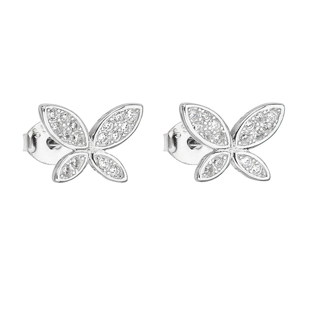 Strieborné náušnice kôstky so zirkónom biely motýľ 11149.1