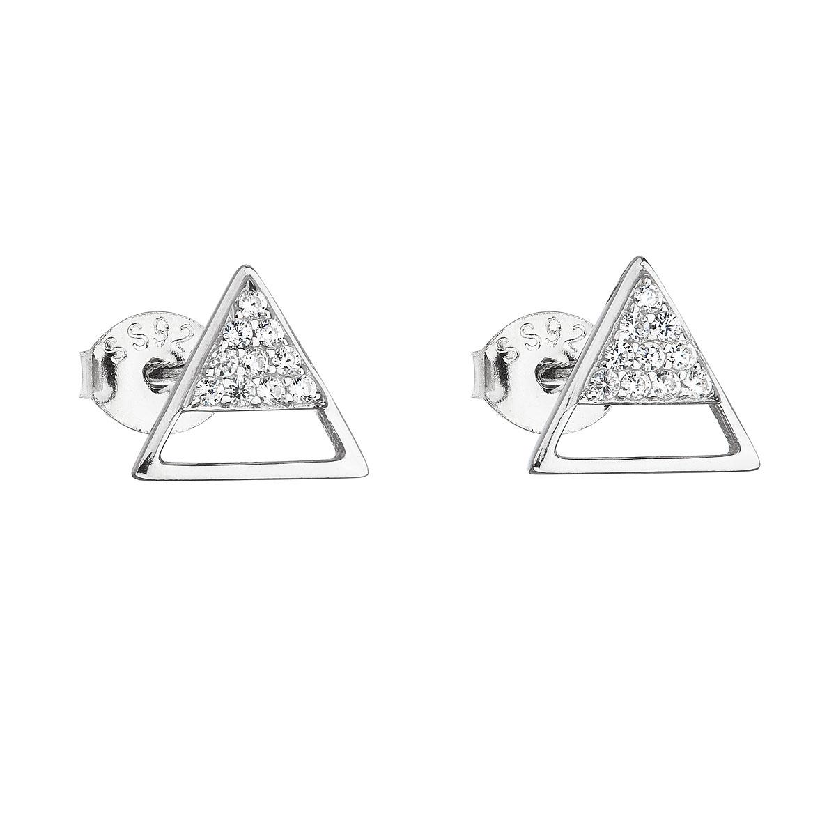 Strieborné náušnice kôstky so zirkónom biely trojuholník 11159.1