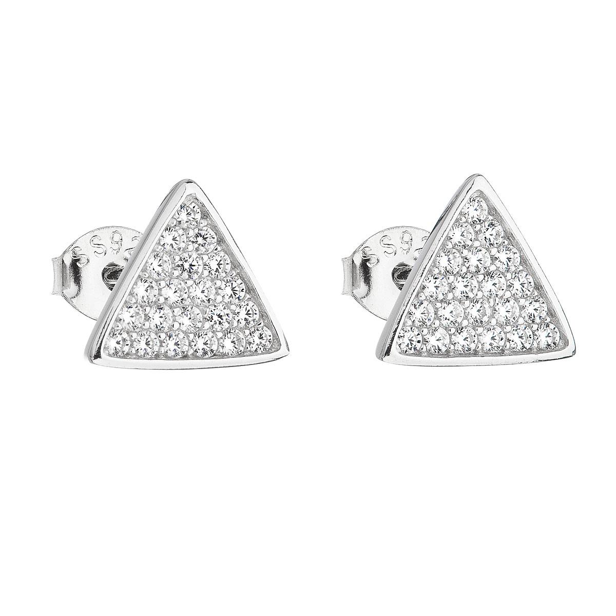 Strieborné náušnice kôstky so zirkónom biely trojuholník 11161.1