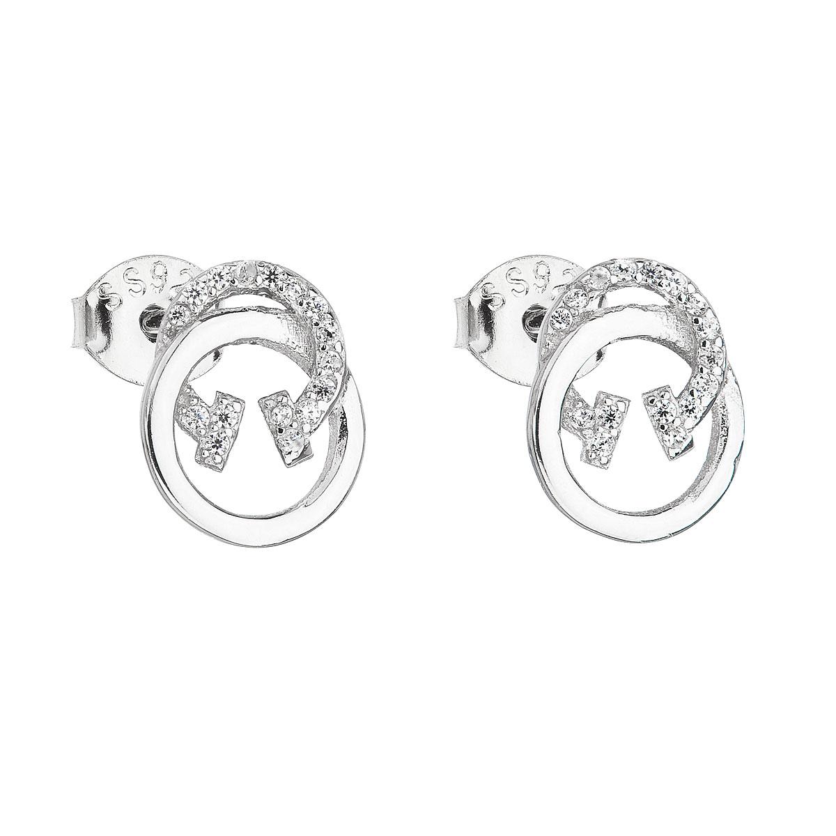 Strieborné náušnice perličky so zirkónom biely kruh 11162.1