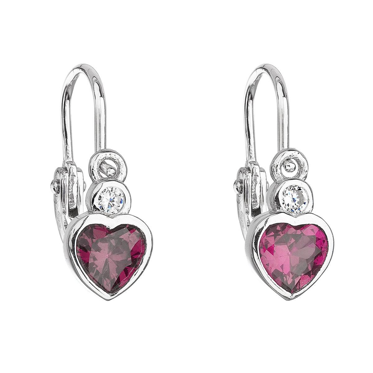 Strieborné detské náušnice visiace so zirkónom ružové srdce 11178.3