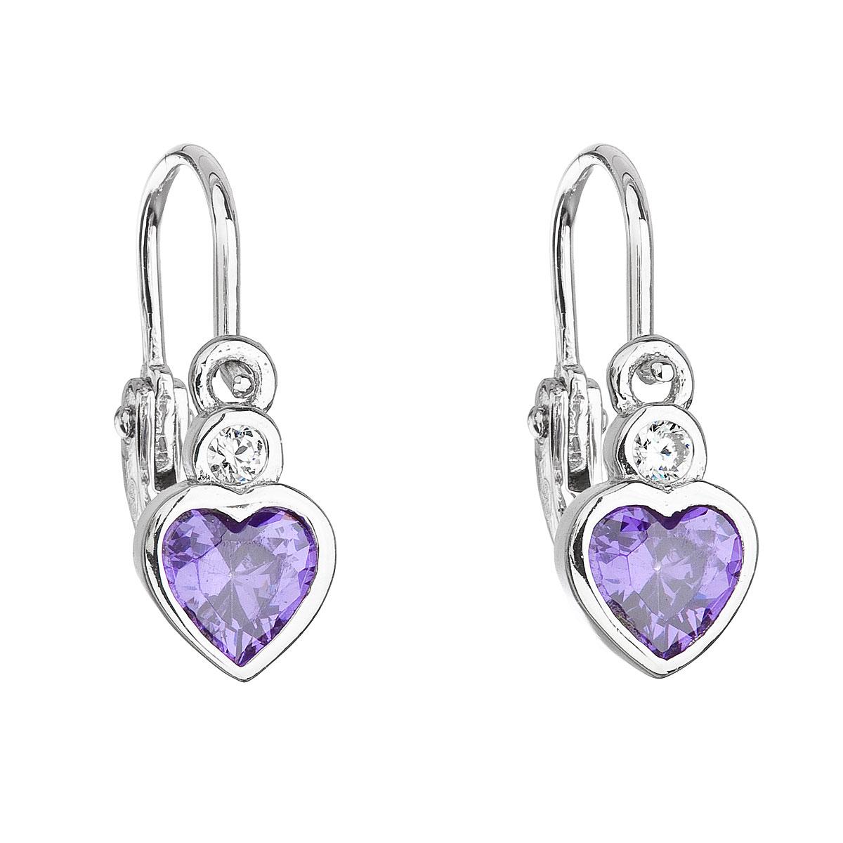 Strieborné detské náušnice visiace so zirkónom fialové srdce 11178.3