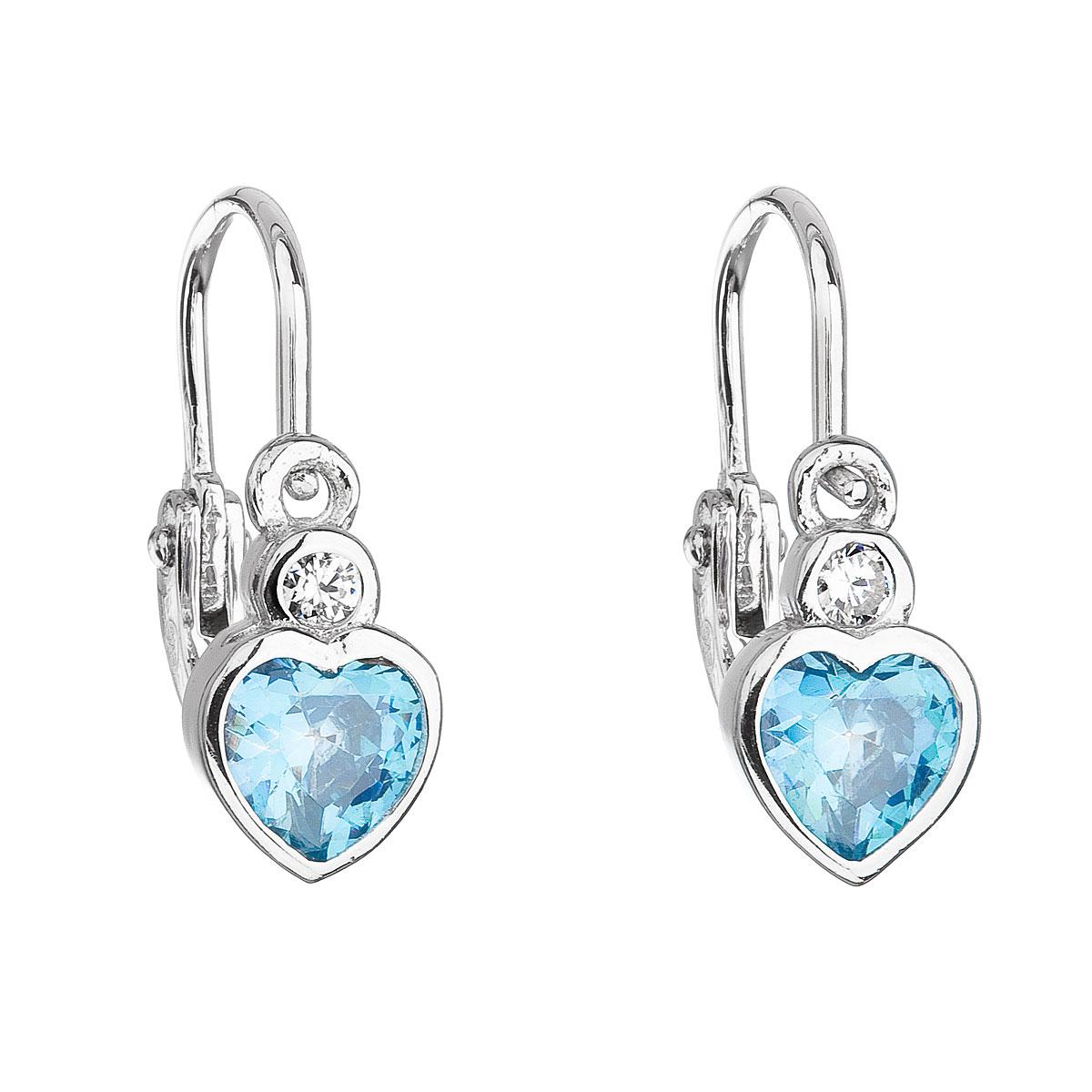Strieborné detské náušnice visiace so zirkónom modré srdce 11178.1