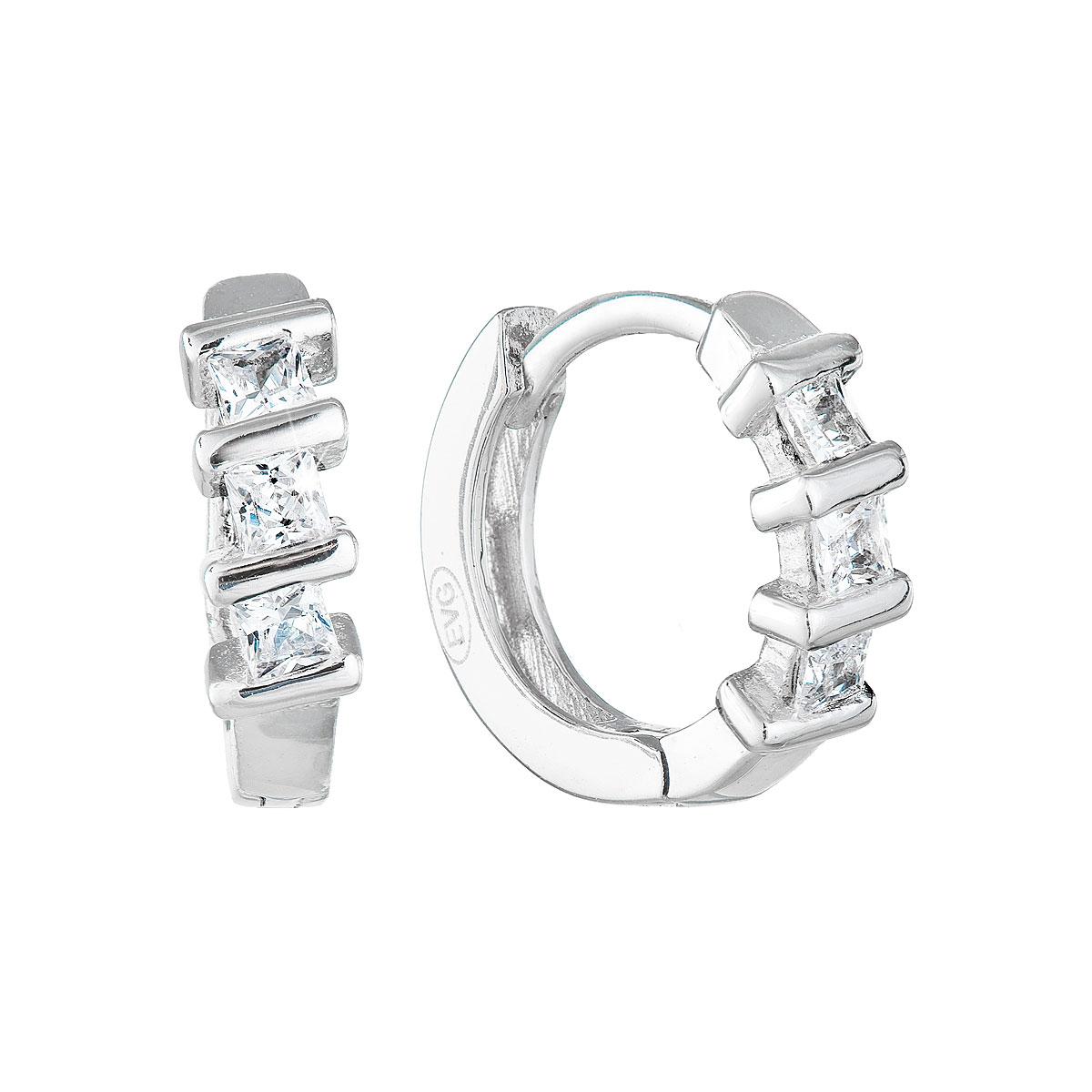 Strieborné náušnice kruhy so zirkónom v bielej farbe 11241.1