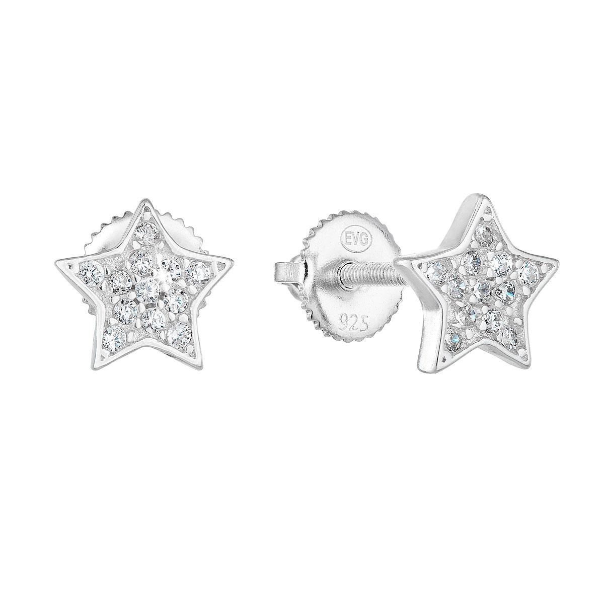Strieborné náušnice kôstka so zirkónom biela hviezdička 11259.1