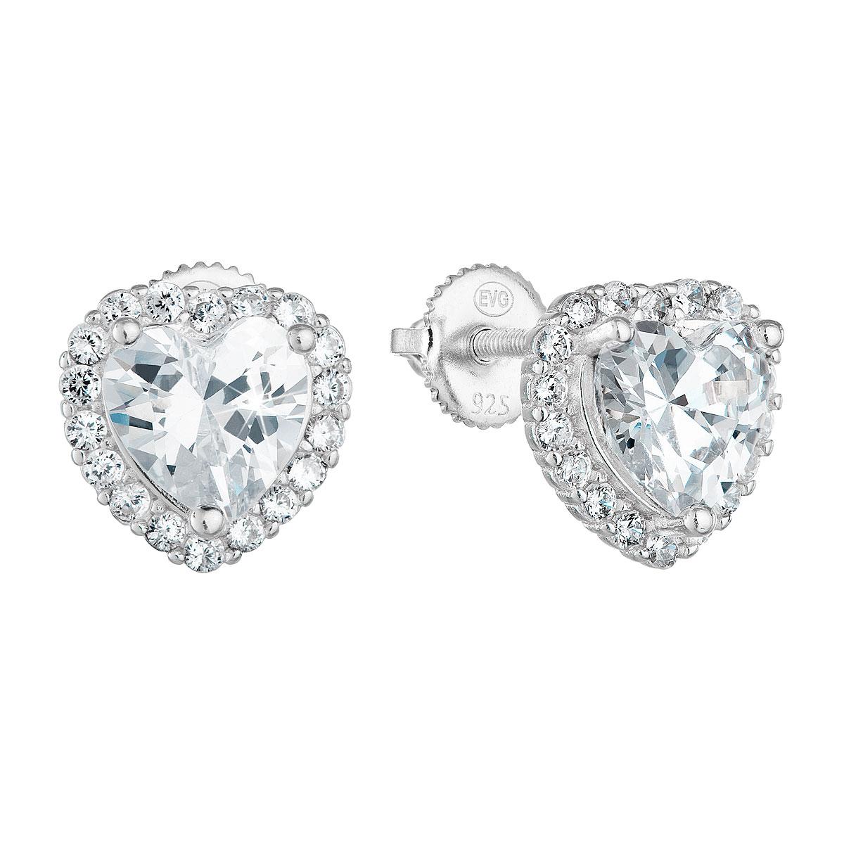 Strieborné náušnice perlička so zirkónom biele srdce 11276.1