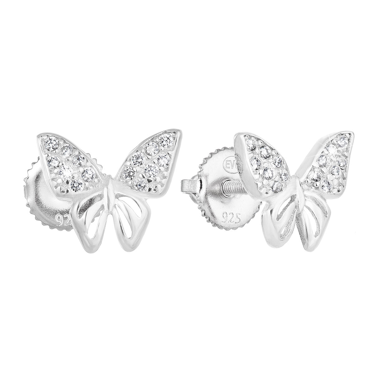Strieborné náušnice kôstky so zirkónom biely motýľ 11311.1