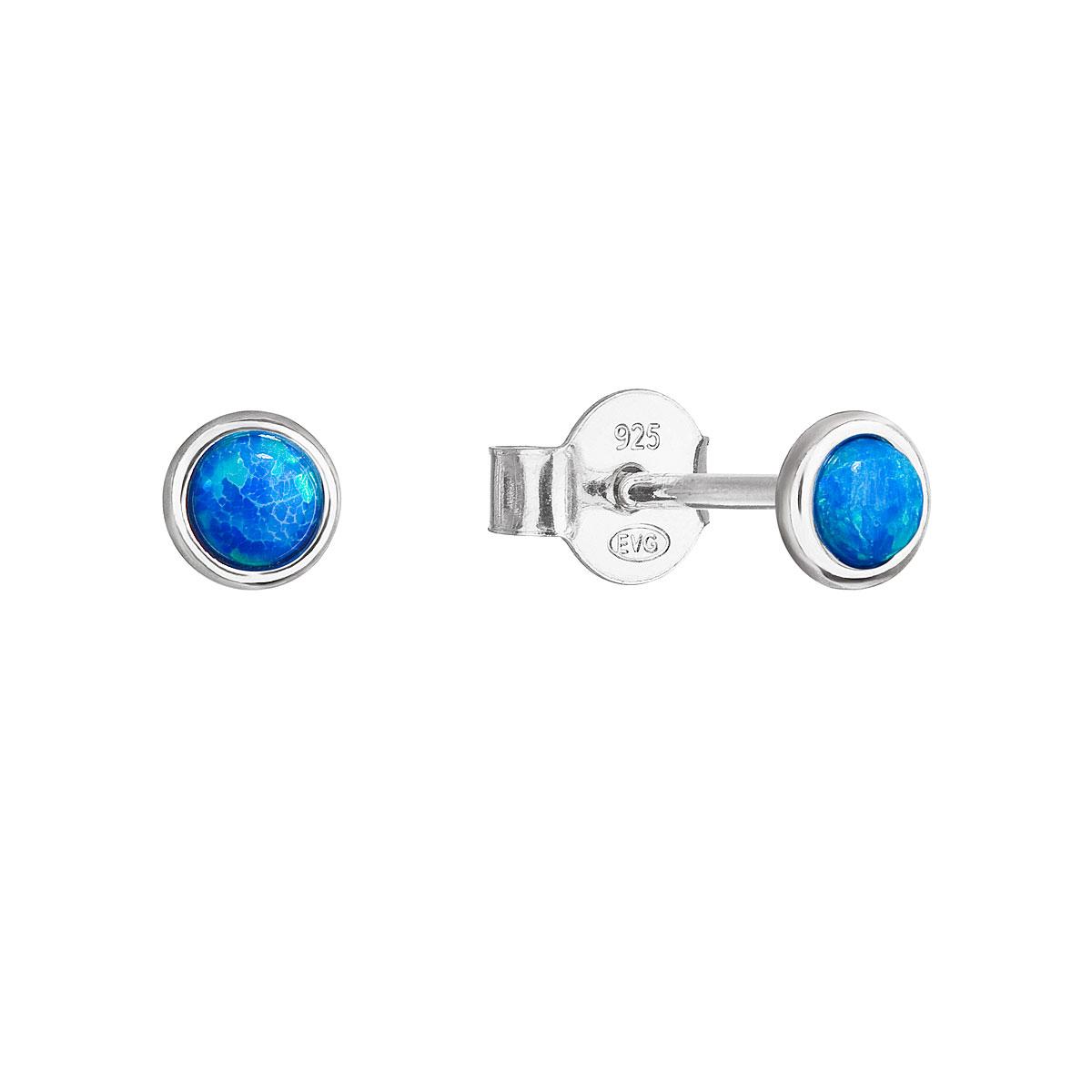 Strieborné náušnice perličky so syntetickým opálom modré okrúhle 11338.3