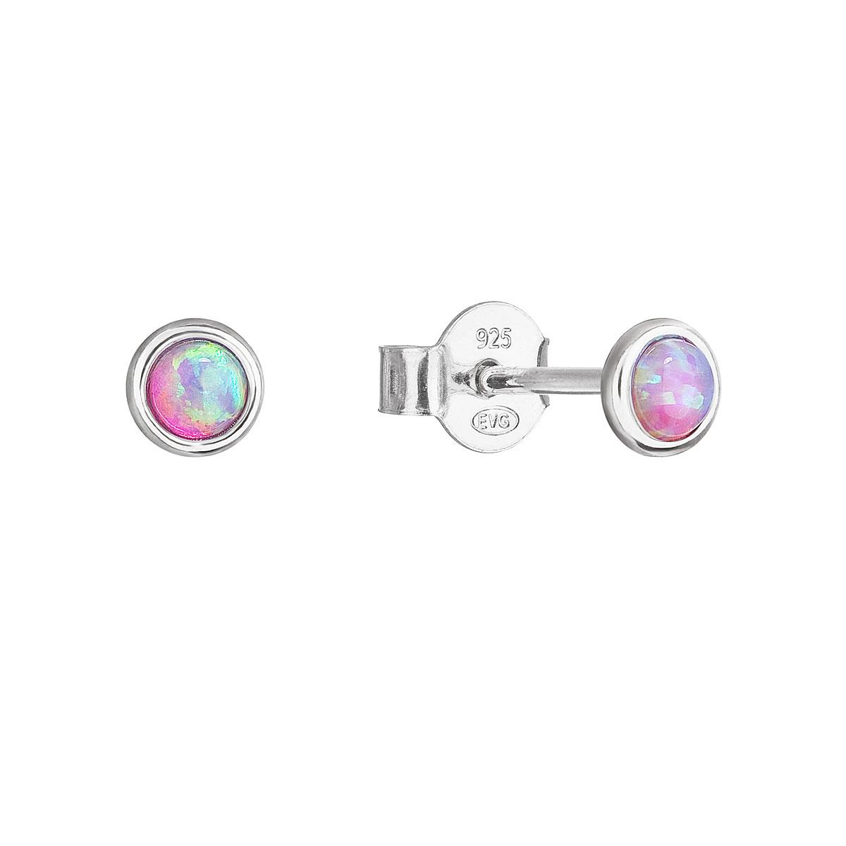 Strieborné náušnice perličky so syntetickým opálom ružové okrúhle 11338.3