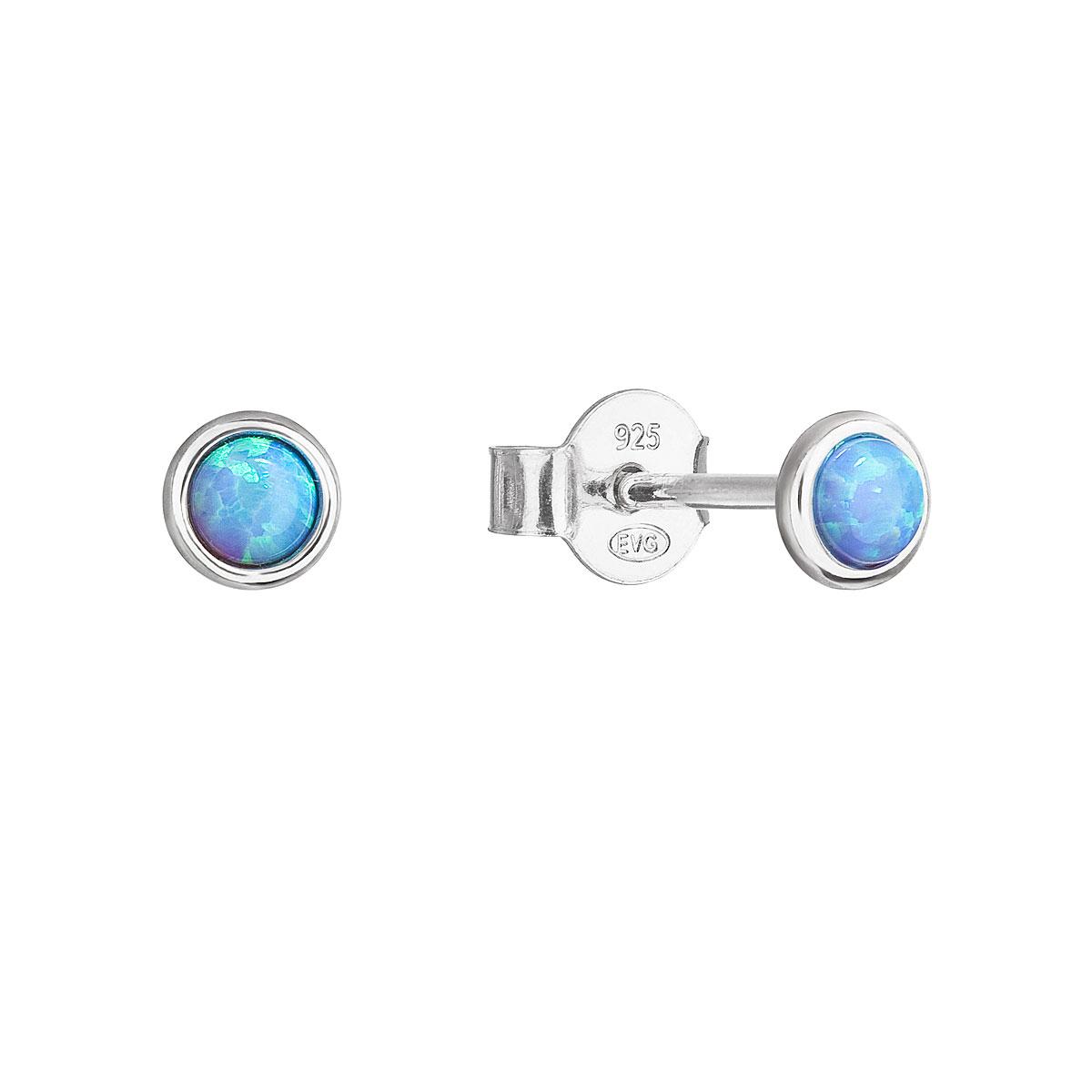 Strieborné náušnice perličky so syntetickým opálom svetlo modré okrúhle 11338.3