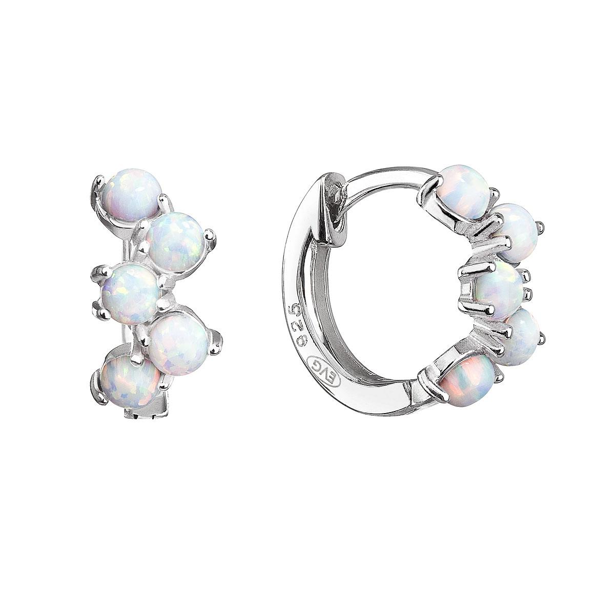 Strieborné náušnice kruhy so syntetickými opálmi biele 11339.1
