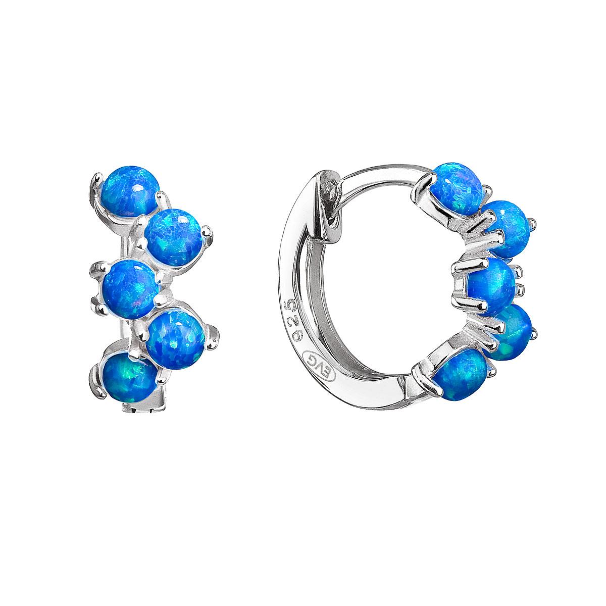 Strieborné náušnice kruhy so syntetickými opálmi modré 11339.3