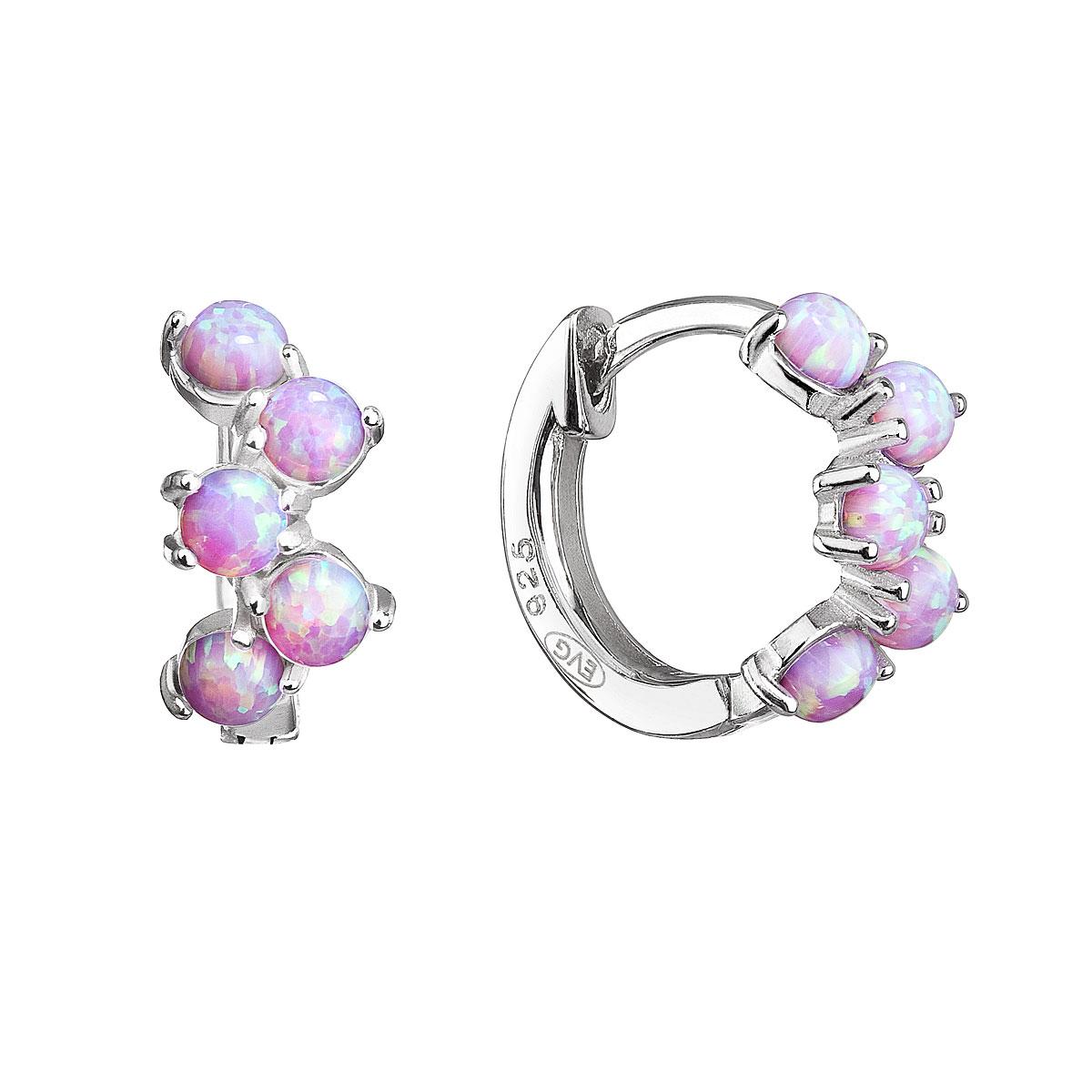 Strieborné náušnice kruhy so syntetickými opálmi ružové 11339.3