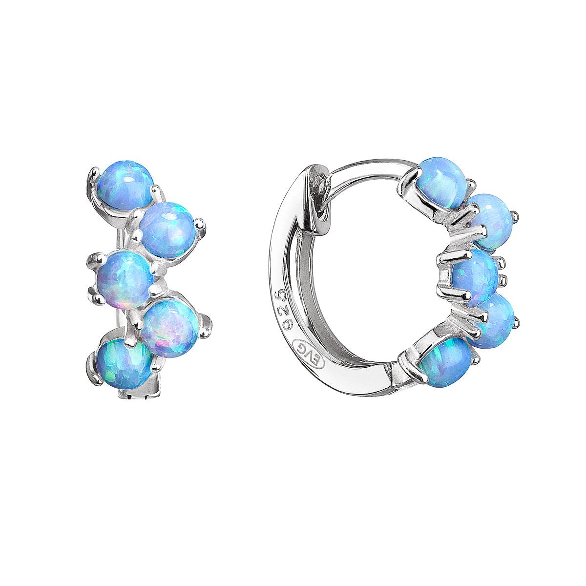 Strieborné náušnice kruhy so syntetickými opálmi svetlo modré 11339.3