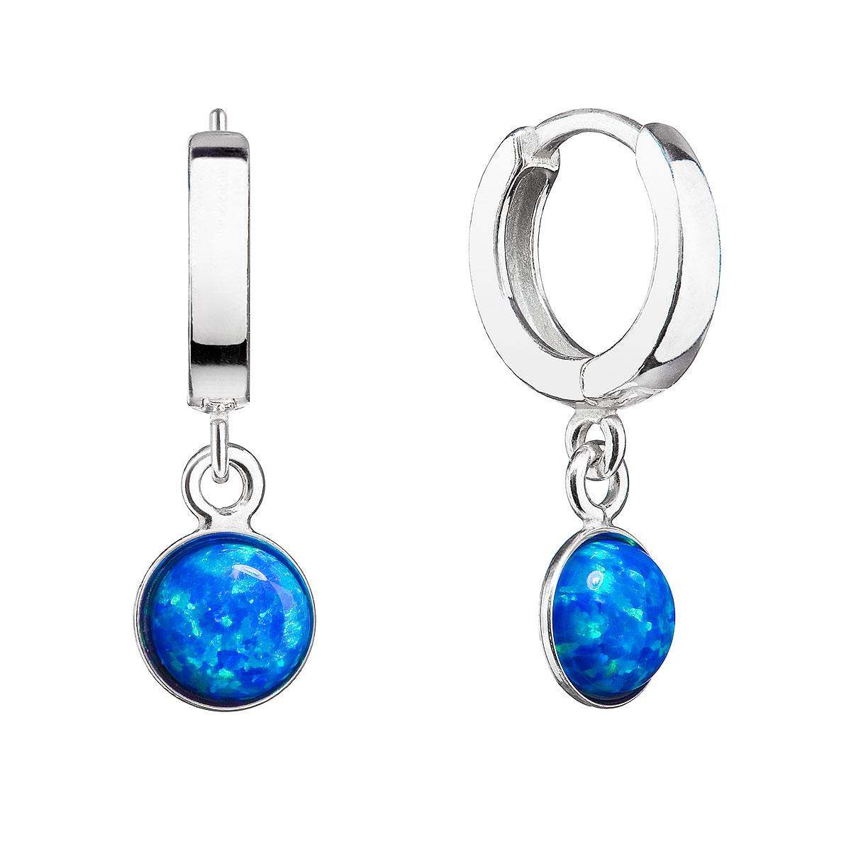 Strieborné náušnice kruhy s modrým syntetickým opálom 11400.3