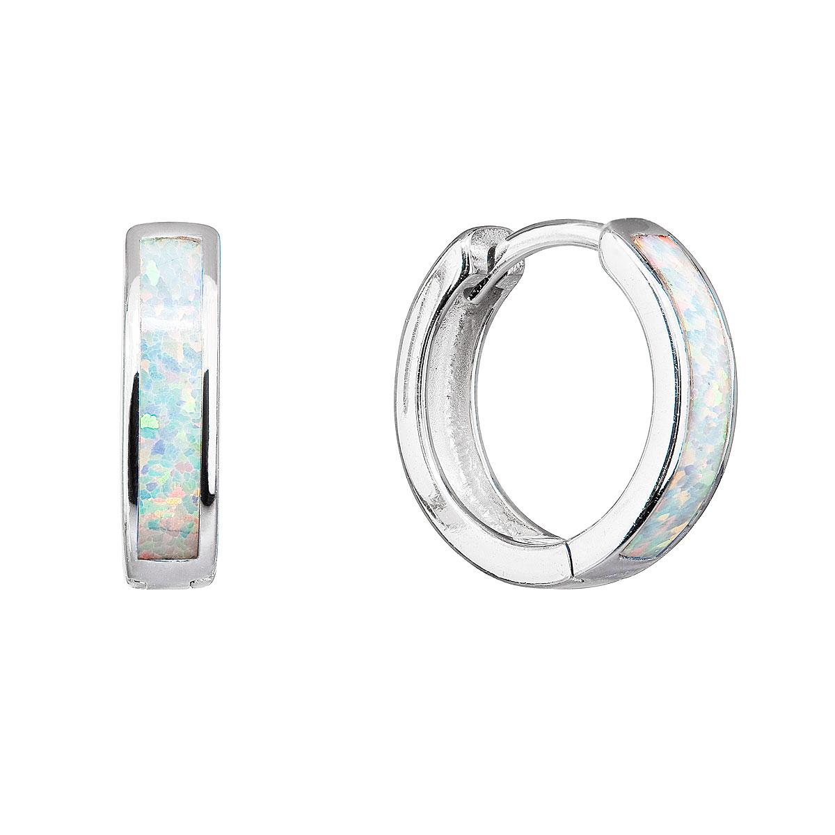 Strieborné náušnice kruhy so syntetickým opálom bielej 11402.1