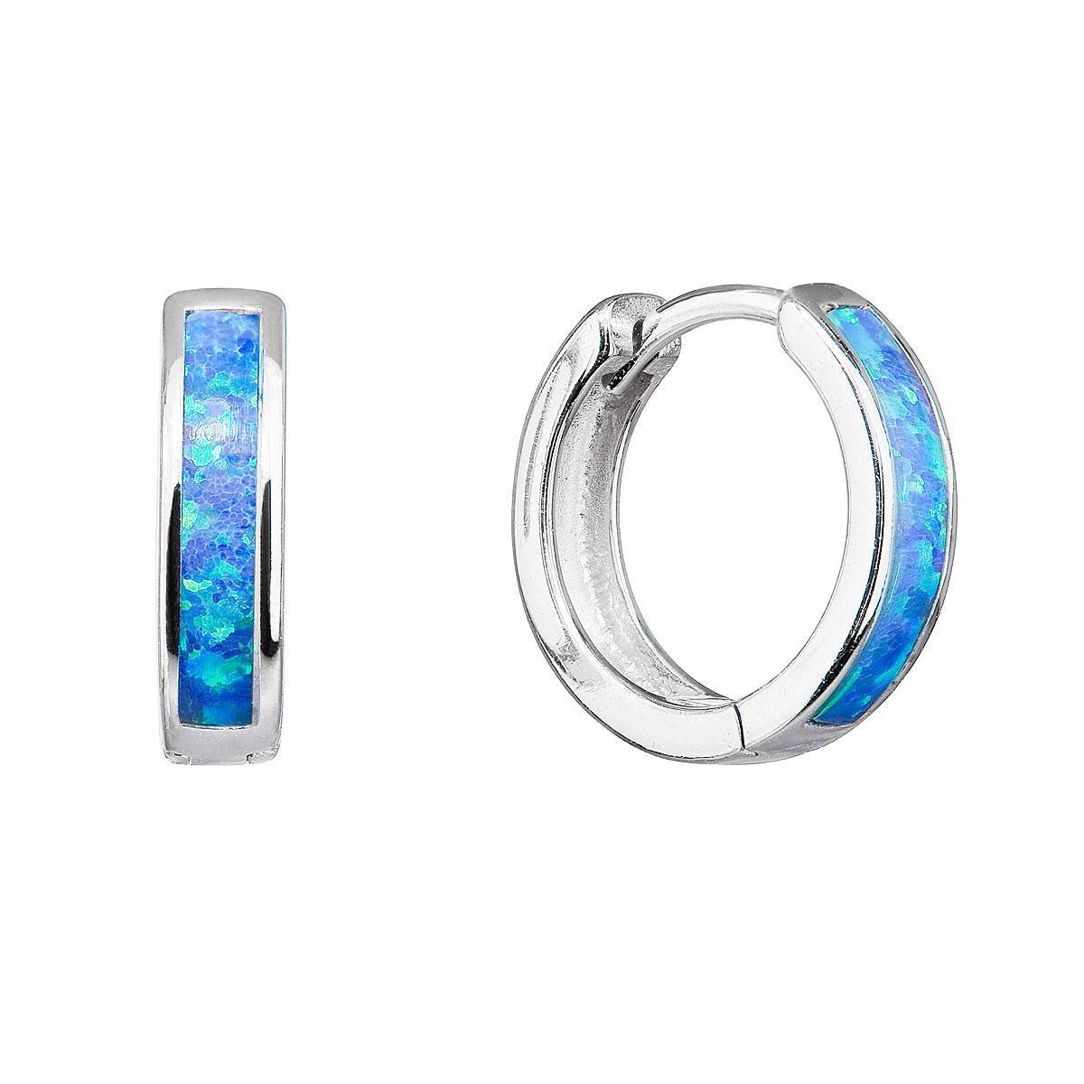 Strieborné náušnice kruhy so syntetickým opálom modré 11402.3