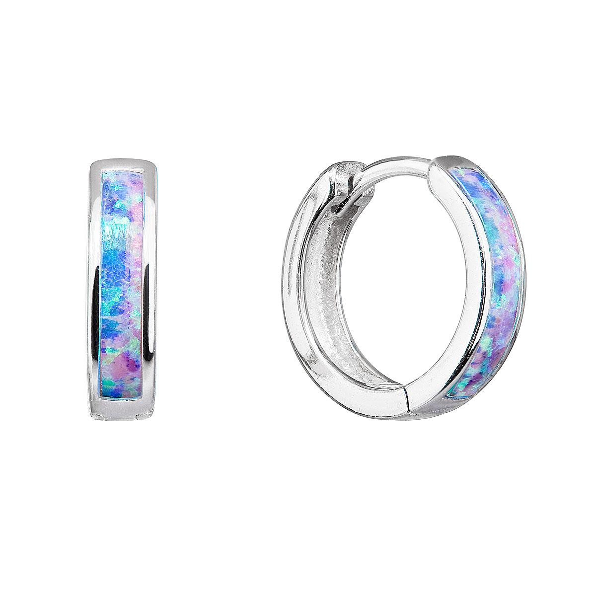 Strieborné náušnice kruhy so syntetickým opálom dúhové 11402.3