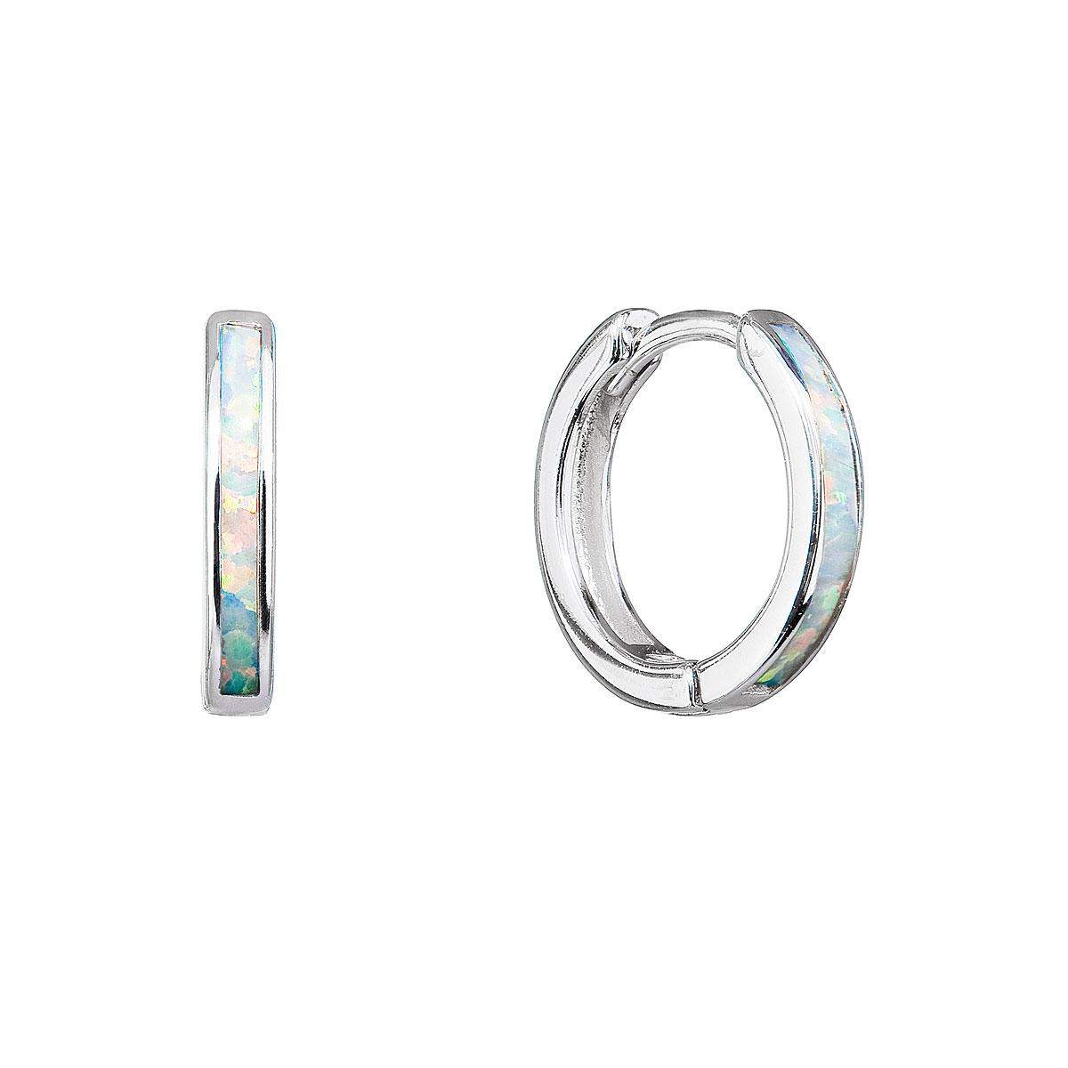 Strieborné náušnice kruhy so syntetickým opálom bielej 11403.1