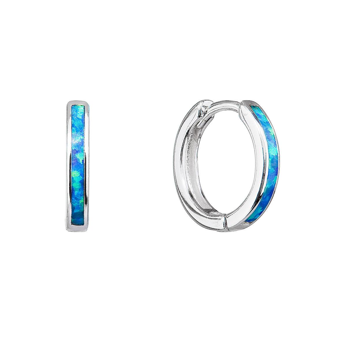 Strieborné náušnice kruhy so syntetickým opálom modré 11403.3