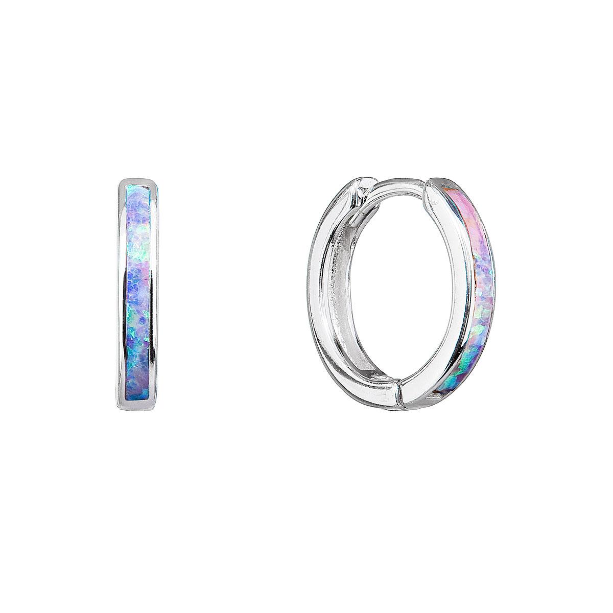 Strieborné náušnice kruhy so syntetickým opálom dúhové 11403.3