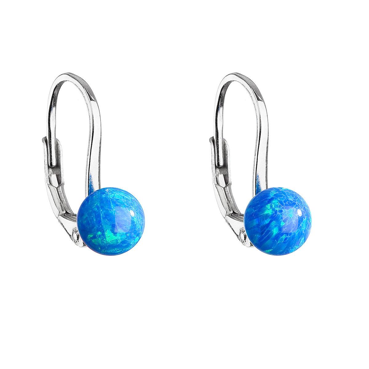 Strieborné visiace náušnice so syntetickým opálom modré okrúhle 11242.3