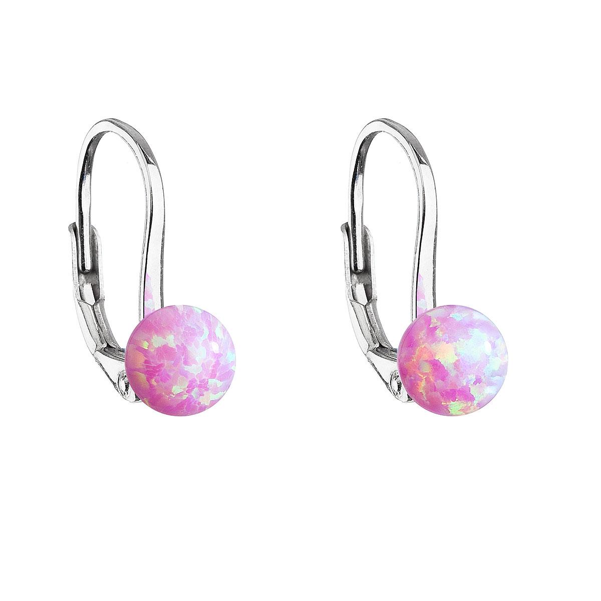 Strieborné visiace náušnice so syntetickým opálom ružové okrúhle 11242.3