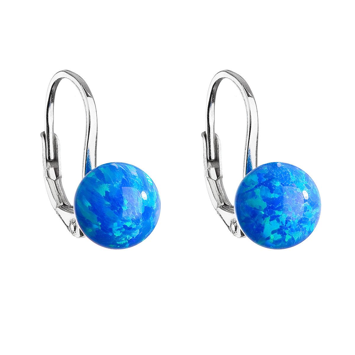 Strieborné visiace náušnice so syntetickým opálom modré okrúhle 11245.3