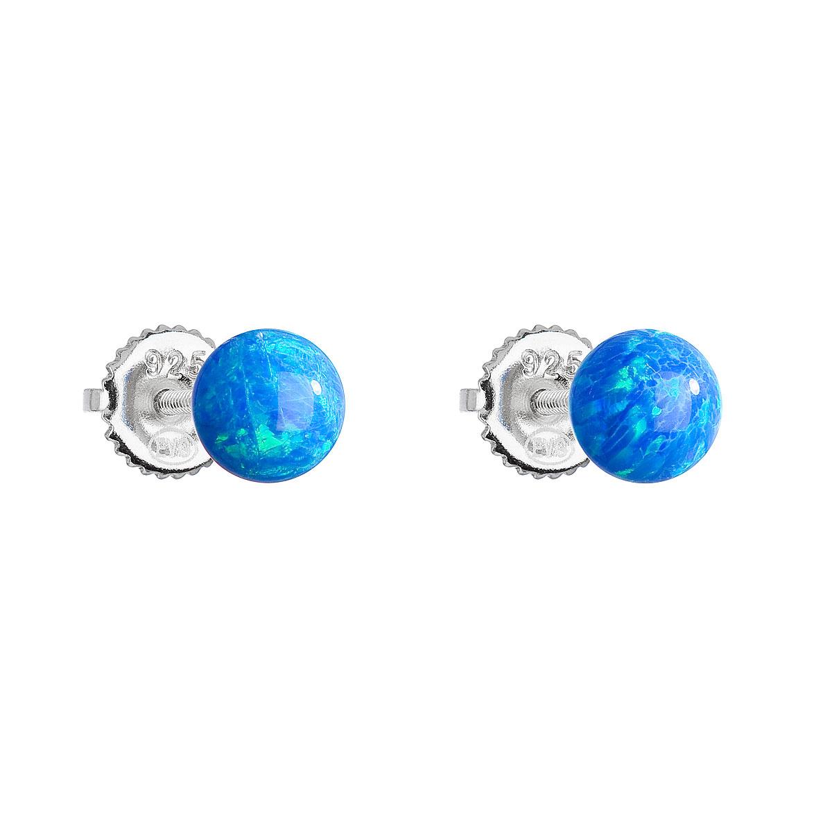 Strieborné náušnice kôstky so syntetickým opálom modré okrúhle 11246.3