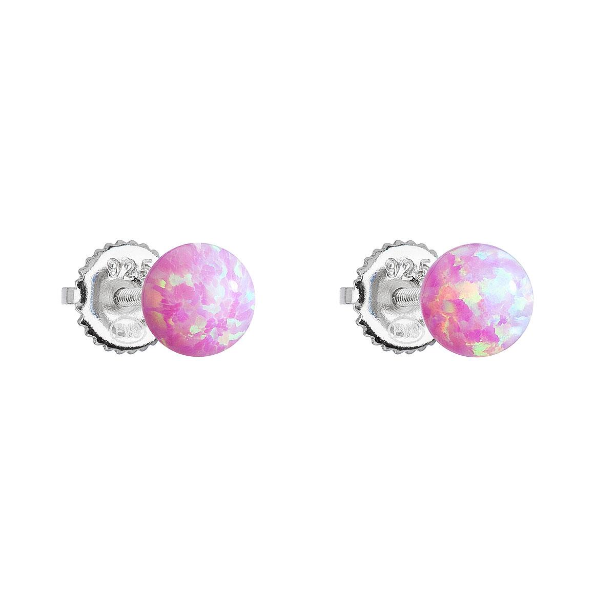 Strieborné náušnice kôstky so syntetickým opálom ružové okrúhle 11246.3
