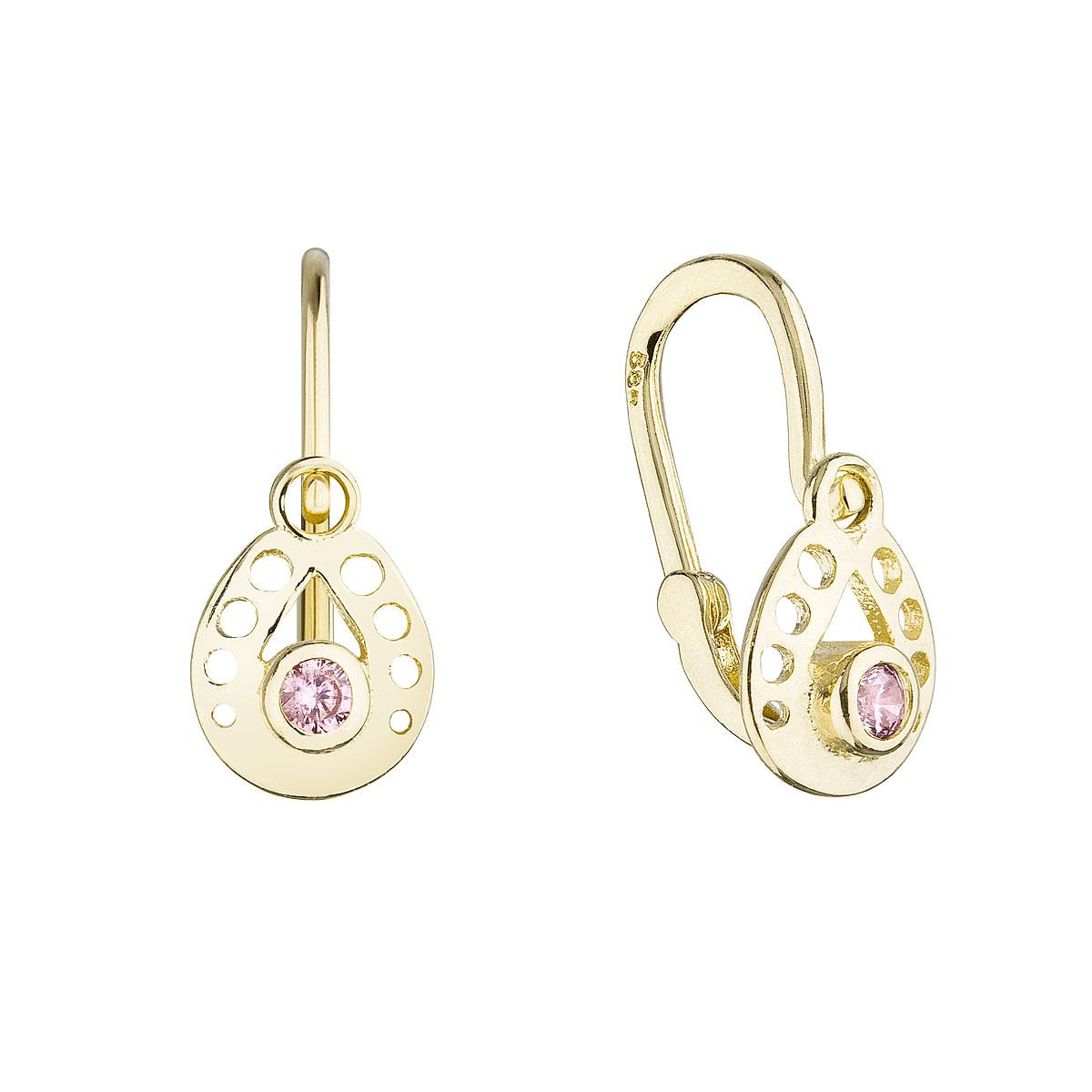 Zlaté detské náušnice visiace slzičky s ružovým okrúhlym zirkónom 991016.3