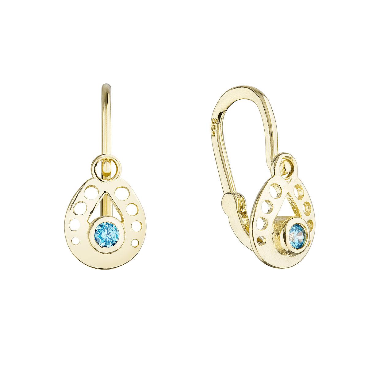 Zlaté detské náušnice visiace slzičky s modrým okrúhlym zirkónom 991016.3