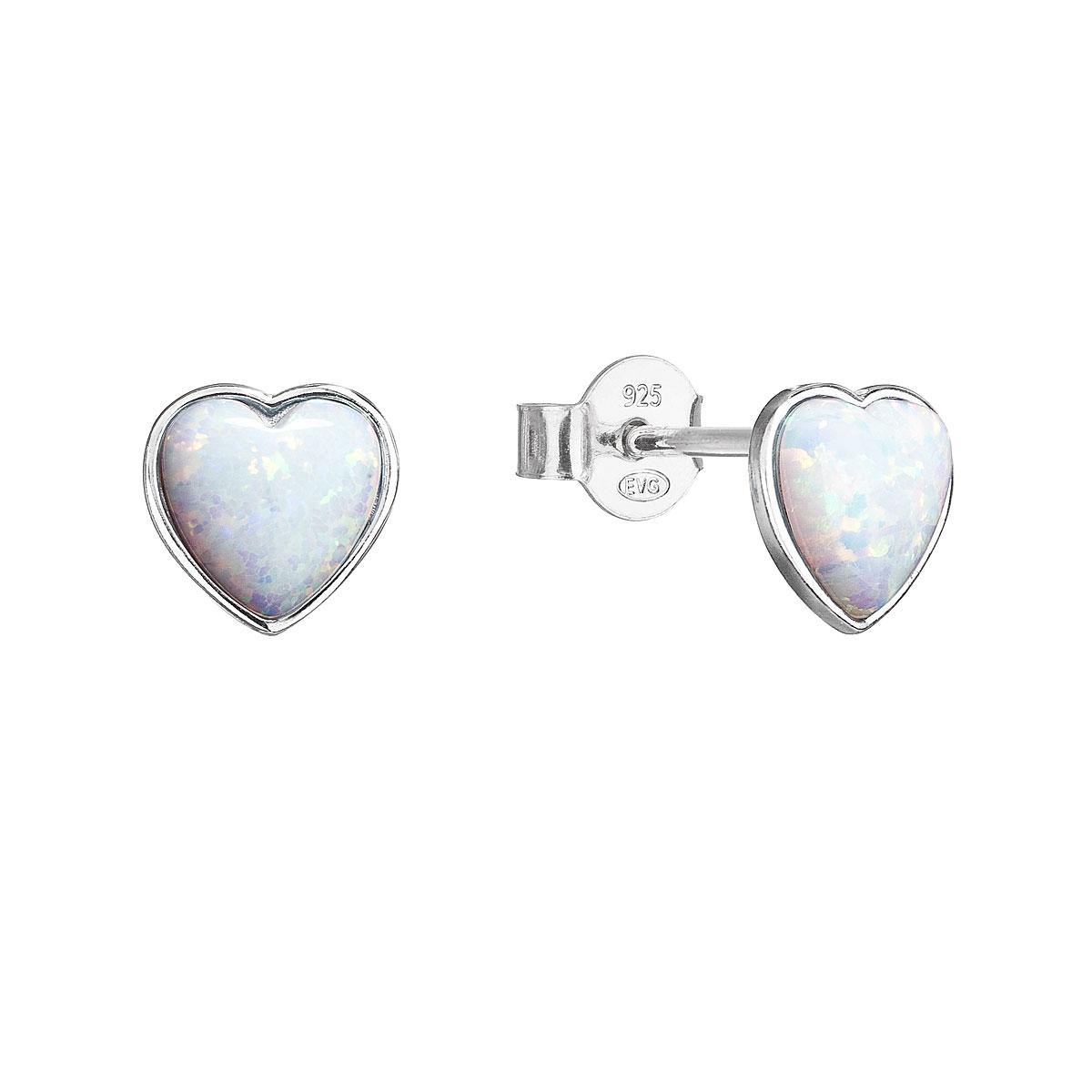 Strieborné náušnice perličky so syntetickým opálom biele srdce 11337.1