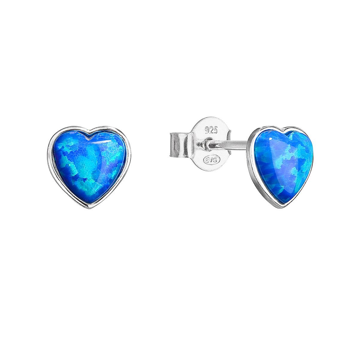 Strieborné náušnice perličky so syntetickým opálom modré srdce 11337.3