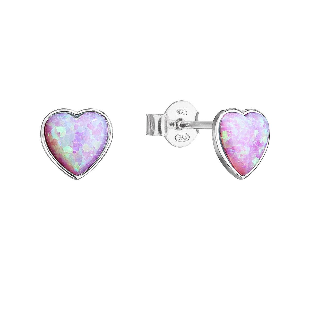 Strieborné náušnice perličky so syntetickým opálom ružové srdce 11337.3