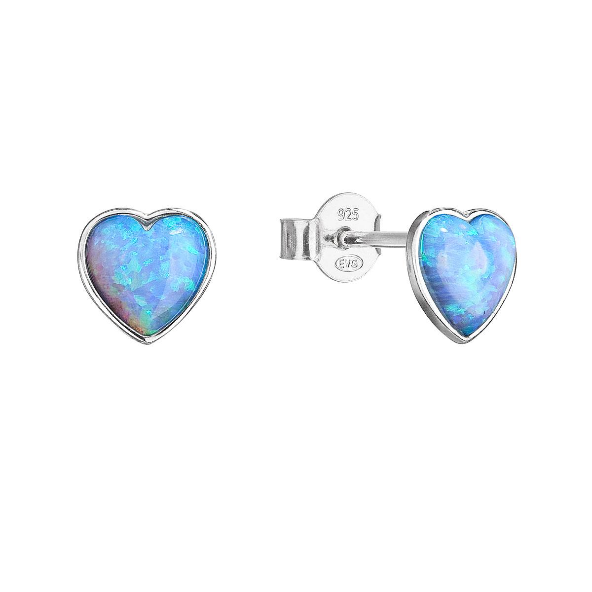 Strieborné náušnice perličky so syntetickým opálom svetlo modré srdce 11337.3