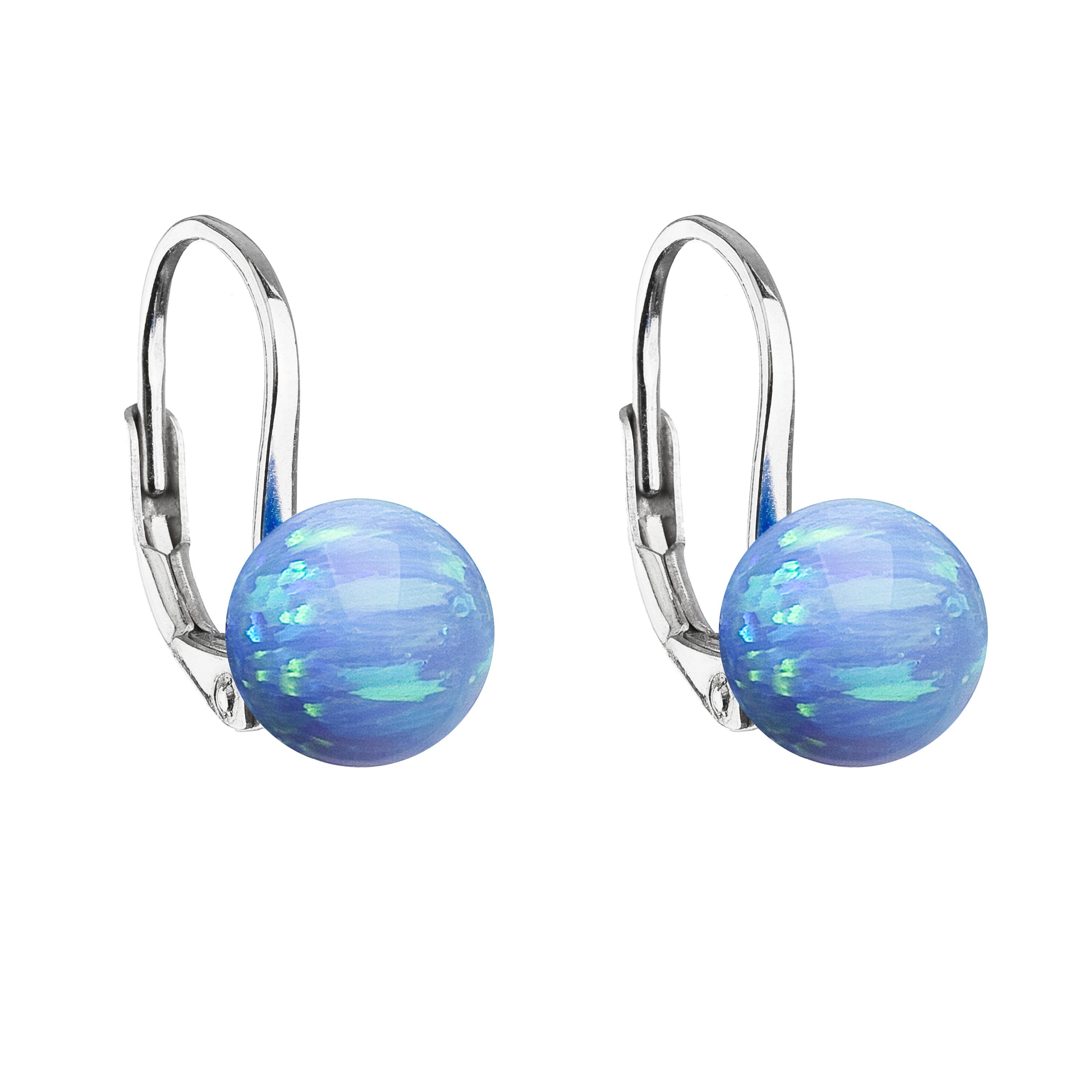 Strieborné visiace náušnice so syntetickým opálom svetlo modré okrúhle 11245.3 lt.blue