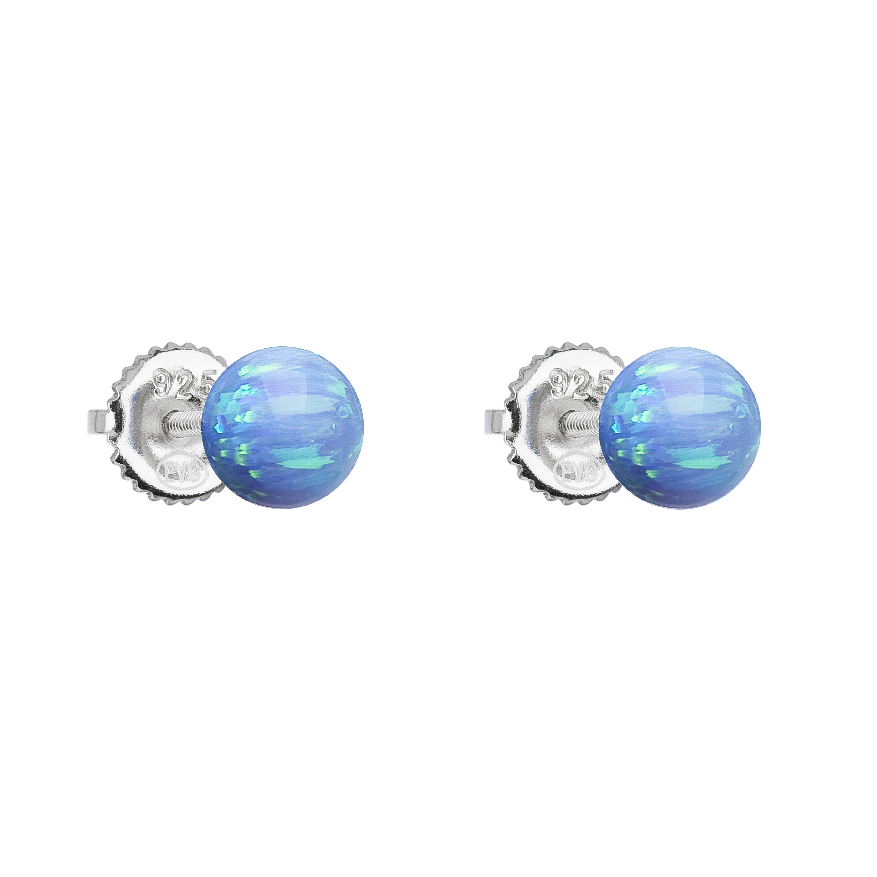 Strieborné náušnice perličky so syntetickým opálom svetlo modré okrúhle 11246.3 lt.blue