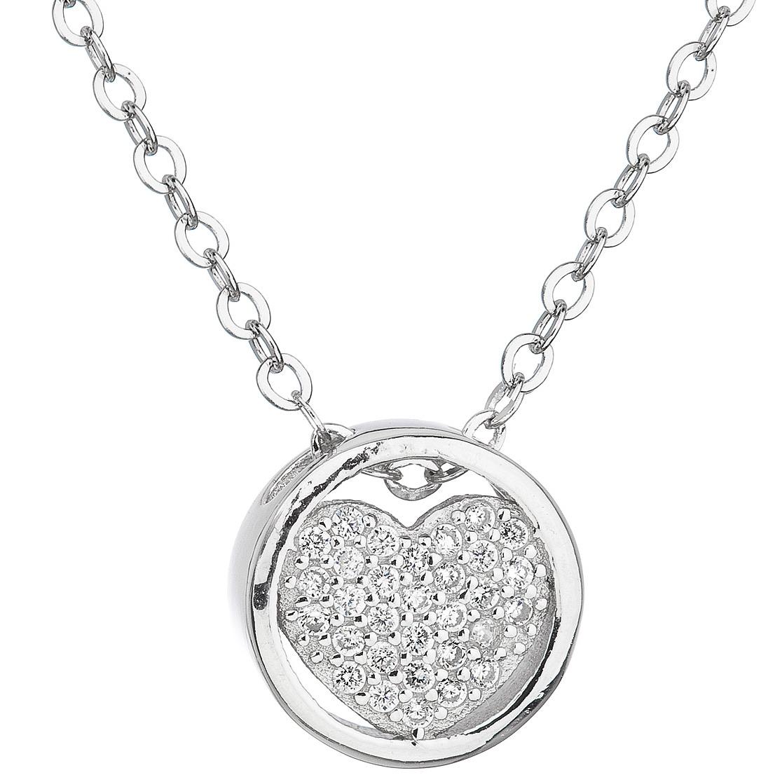 Strieborný náhrdelník so zirkónom biele srdce 12027.1  c0e52547c6a