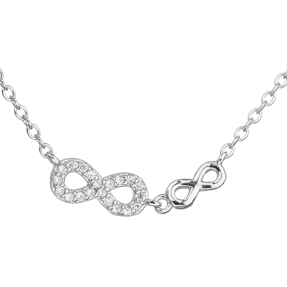 Strieborný náhrdelník so zirkónom biele nekonečno 12041.1