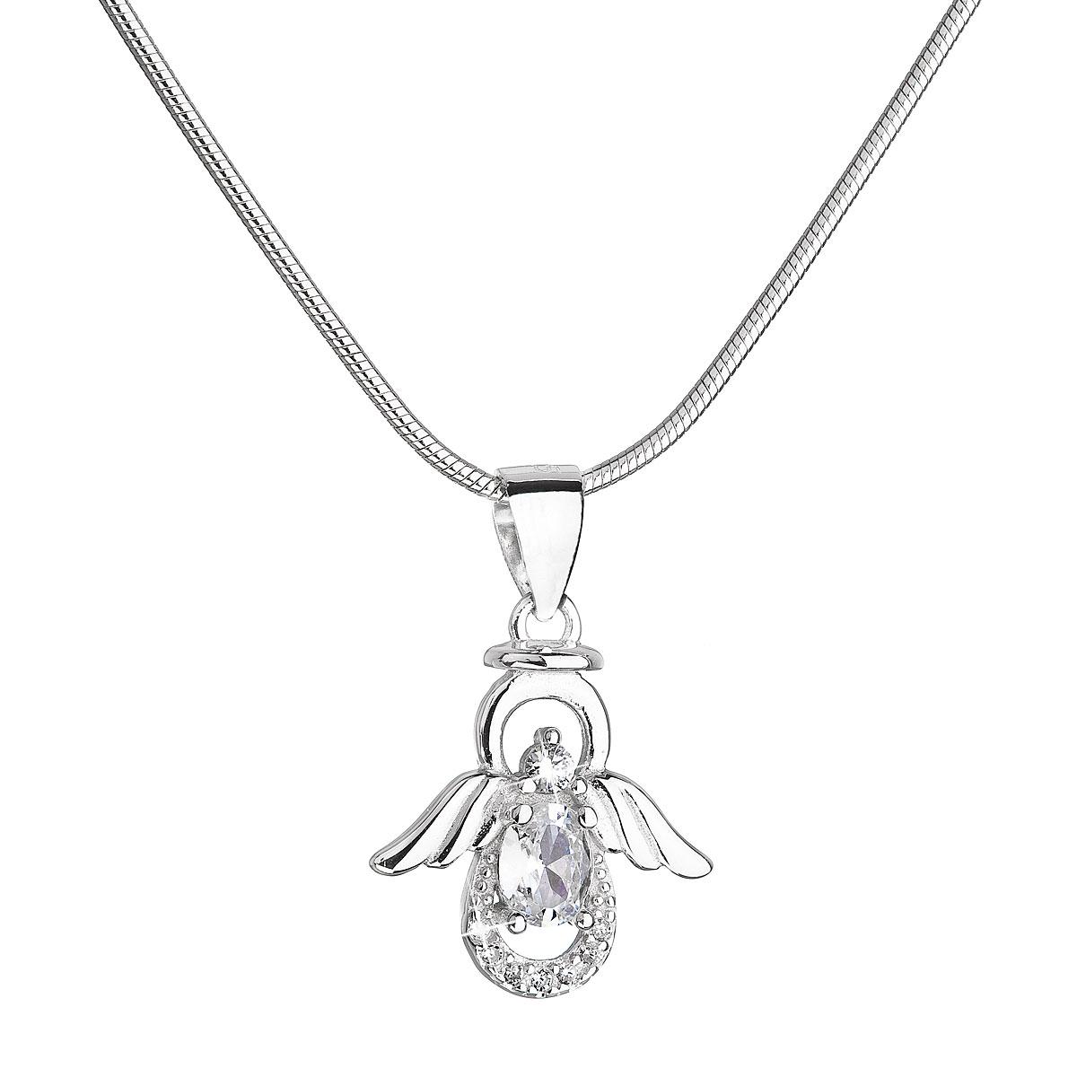 Strieborný náhrdelník anjel s bielymi zirkónmi 12043.1
