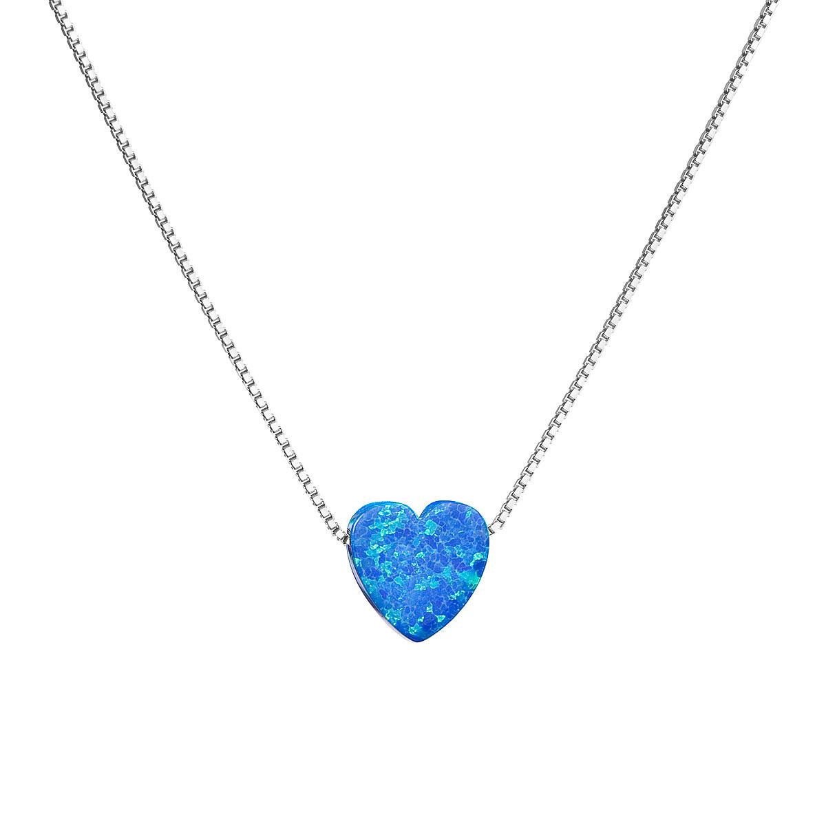 Strieborný náhrdelník so syntetickým opálom modré srdce 12048.3